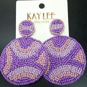 Jewelry - Purple Beaded Circle Earrings